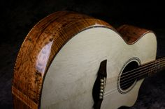 Koa arm bevel and Tasmanian Tiger Myrtle sides on a Driftwood Guitar Tasmanian Tiger, Guitar Building, Myrtle, Ukulele, Driftwood, Acoustic, Guitars, Arm, Music Instruments