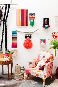 Woven tapestries by textile artist Natalie Miller in her Southern Highlands studio. Photo – Rachel Kara for The Design Files.