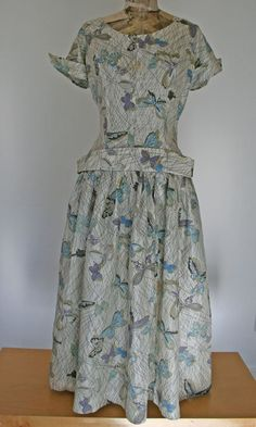 Exquisite 1950s Silk Butterfly Day Dress