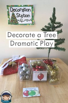 This is a dramatic play christmas tree lot for preschool and kindergarten classrooms. There are fun ideas for setup, props and introduction activities. Miniature trees and plastic ornaments can be purchased at Dollar Tree or Target. Dramatic Play Themes, Dramatic Play Area, Dramatic Play Centers, Preschool Dramatic Play, Christmas Tree Lots, Christmas Crafts For Kids, Toddler Christmas, Xmas, Preschool Christmas Activities