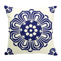 """HUIB 18 X 18"""" Chinese Blue and white Porcelain Pattern Cotton Linen Cartoon Pattern Decorative Throw Pillow Cover(ZBZ012-4)"""