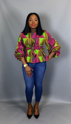 Exclusively Stunning Ankara Blouse Styles For Beautiful Ladies By Zahra Delong African Blouses, African Tops, African Women, Ankara Tops Blouses, African Style, African Wear Dresses, Latest African Fashion Dresses, African Attire, Ankara Fashion