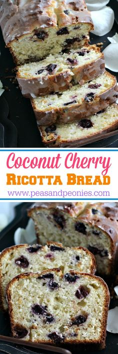Coconut cherry ricotta bread that is moist and tender, very easy to make, loaded with sweet cherries and topped with a lemon glaze. - Peas and Peonies