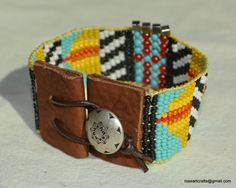 Hand loomed beaded bracelet with turquoise red by RoseArtCrafts. Love the leather ends! Peyote Patterns, Beading Patterns, Beading Ideas, Loom Bracelets, Metal Buttons, Loom Beading, Bead Art, Bead Weaving, Beaded Embroidery