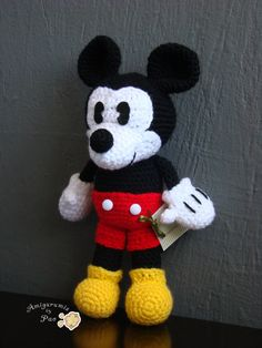 IMPORTANT NOTE: This is a crochet pattern to make this Amigurumi ***This pattern is a PDF file and will be available to download directly through Etsy after purchase. No waiting!*** ♥ Mickey size is approximately 11.02 in/27cm high ( This can vary depending the thickness of the yarn and the sizes of the crochet used )  This pattern is at an intermediate level. Previous amigurumi experience is highly recommended. You need to know :  Mg= Magic Ring ch = chain sc = single cro...