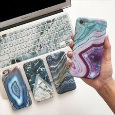 Teal & White Duo Marble Phone Case