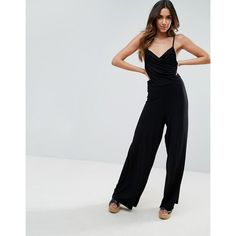 ASOS Cami Jumpsuit with Ruched Bodice and Wide Leg ($32) ❤ liked on Polyvore featuring jumpsuits, black, v neck cami, v-neck camisoles, v neck jumpsuit, strappy cami and strappy v neck cami