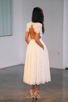 Looks too much like a wedding dress, but I love the cut and I love dresses with pockets! #whitedress