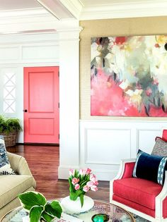 Add life to your hallways and rooms by giving your doors a fresh coat of paint in a saturated color. No need to save this look for your exterior front door; a bright hue is an unexpected and artistic way to add personality to your design.