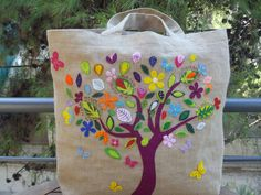 Embroidered tree bag - LOVE