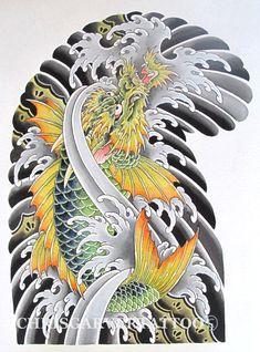 First colour tattoo on myself? Dragon Koi Fish, Koi Dragon Tattoo, Koi Fish Tattoo, Tattoo Japanese Style, Japanese Dragon Tattoos, Traditional Japanese Tattoos, Koi Tattoo Sleeve, Dragon Sleeve Tattoos, Geisha Tattoos