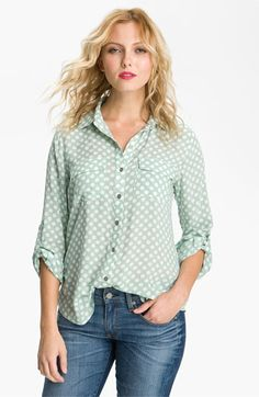 Gibson Polka Dot Pocket Shirt available at #Nordstrom.   Layer with hot pink or blue!