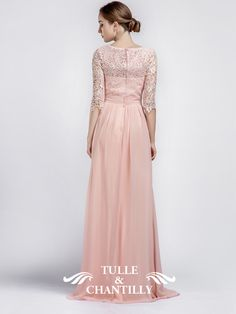 Pink Boat Neck Lace Sleeves Bridesmaid Dress with Chiffon Skirt 3