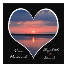 "Wedding Vow Renewal Invitation - Sunset in Heart 5.25"" Square Invitation Card"