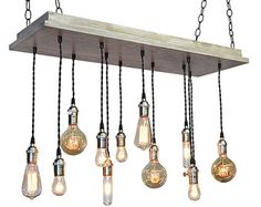16 Bare Bulb Pendant Rustic Chandelier by IndustrialLightworks