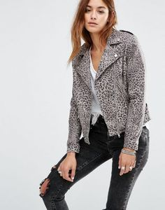 Religion Leather Biker Jacket In All Over Leopard Print