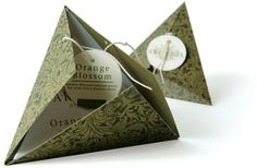 Here is a concept design for a new way to package tea bags. Each individual bag is enclosed in a pyramid shaped box. The design was created by designer Gabriello Re.