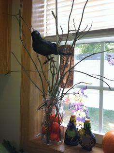 DIY sticks, foam pumpkins, dollar tree crow