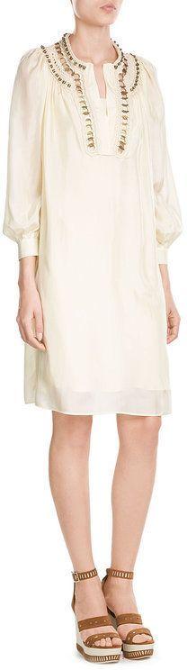 Alberta Ferretti Silk Tunic Dress with Embellished Crochet Trim