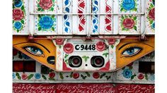 Colorful trucks in Pakistan Grass Flower, Truck Art, Arte Popular, All The Colors, Pakistan, Folk Art, Red And White, Backdrops, Trucks