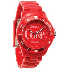 Custom Coke Bottles & Coca-Cola Collectibles Coca Cola Barclay Watch, Outstanding watch makes a real statement! Its red face bears a classic Coke advertising slogan, along with mini hash marks representing minutes. Band adjusts for a comfortable fit. Coca Cola Life, Coca Cola Drink, Coca Cola Ad, Always Coca Cola, World Of Coca Cola, Vintage Coca Cola, Coca Cola Decor, Cocoa Cola, Rouge
