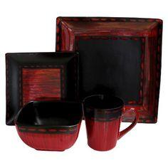 American Atelier 16 Piece Livingston Dinnerware Set - Red