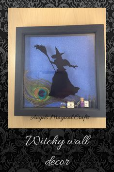 Witch home wall decoration, shadow box frame, witch and broom