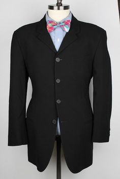 AWESOME Emporio Armani Black Modest Striped Wool Blend 40 R mens Suit #EmporioArmani #FourButton