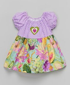 Look what I found on #zulily! Purple & Green Floral Peasant Top - Toddler & Girls #zulilyfinds