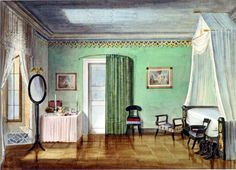 """A so called """"Zimmerbild"""" (chamber painting). Coburg, Germany. Early Victorian period.  Datecirca 1848, by J. Ferdinand Rothbart  It's not Empire, but I love the clean lines and the sage green walls"""
