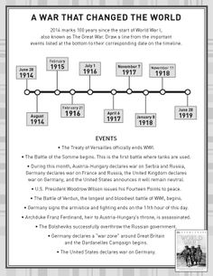 Activity Sheet - World War I history. #WWI
