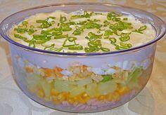 Fruchtig - pikanter Schichtsalat, ein schmackhaftes Rezept aus der Kategorie Schwein. Bewertungen: 187. Durchschnitt: Ø 4,5.