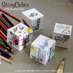 PRINTABLE STORY CUBES, story dice, creative paper play - Children activity - Cubes to print out, colour in and create stories Story Cubes, Classroom Activities, Activities For Kids, Crafts For Kids, Nursery Activities, Library Activities, Origami, Story Dice, Thé Illustration
