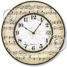 or 12 inch diameter Hum along with the happy melody of this appealing design. Featuring antique sheet music on it's face, this clock is sure to delight any music lover or musician Music Clock, Sheet Music Crafts, Living Room Clocks, Wall Clocks, Decoupage, Music Corner, Diy Clock, Clock Ideas, Clock Decor