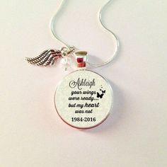 Memorial Jewelry Your WINGS were Ready my heart was not Personalized | annmariejewelrytree - on ArtFire