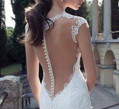 2014 Berta Backless Lace Wedding Dresses V Neck Appliques Beads Court Train Mermaid Wedding Bridal Gown Custo