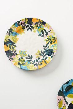 Assiette à dîner Melbourne Painted Ceramic Plates, Ceramic Clay, Hand Painted Ceramics, Ceramic Painting, Decorative Plates, Pottery Painting Designs, Pottery Designs, Paint Designs, Melbourne