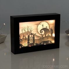 Nightmare Before Christmas Halloween Decor - Nightmare Before Christmas Light Box - Halloween Decorations - Halloween Gift - Real Time - Diet, Exercise, Fitness, Finance You for Healthy articles ideas Photo Halloween, Halloween Gifts, Vintage Halloween, Fall Halloween, Halloween Decorations, Halloween Night, Halloween Cards, Christmas Shadow Boxes, Christmas Paper