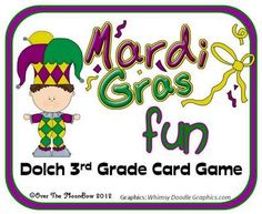 Mardi Gras Fun Dolch 3rd Grade Words Card Game from overthemoonbow on TeachersNotebook.com -  (10 pages)