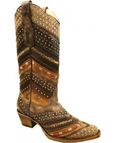 a8e1013dd5ab59 Corral Womens Chevron Embroidered and Studs Cowgirl Boots - Snip Toe