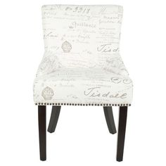 for conversation area by fireplace. mix and match? Gardiner Side Chair (Set of 2) Nailhead-trimmed side chair in white and gray with typographic-print upholstery and a birch wood frame.