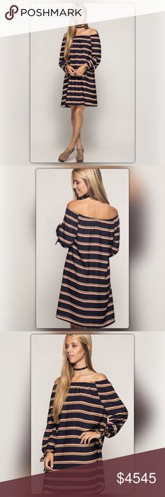 Navy Off-the-Shoulder Striped Shift Dress Modern twist on a classic striped dress! Stripes never go out of style and this dress is proof. This navy off-the-shoulder dress has ties at the sleeves. It is made of 70% cotton and 30% polyester. It is fully lined. Ships 12/5. NEW Boutique Dresses