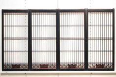 黒枠に角麻組子とシンプル格子を設えた上品な趣きの書院 E5361 在庫4枚