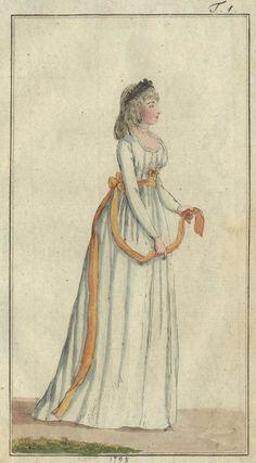 Chemise von weißem Linon. Orange sash. January 1795 Journal des Luxus und der Moden