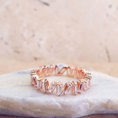 CZ Unique Baguette Eternity Band Wedding Anniversary Ring Rose gold plated CZ diamonds 3mm ring by LasyaJewelry on Etsy
