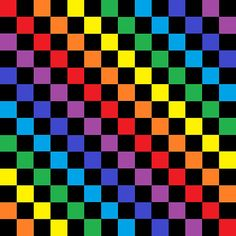 'Checkered Pastel Rainbow Black' by lornakay Checker Wallpaper, Grid Wallpaper, Funny Phone Wallpaper, Rainbow Wallpaper, Colorful Wallpaper, Wallpaper Backgrounds, Rainbow Aesthetic, Aesthetic Gif, Aesthetic Wallpapers