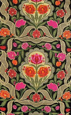 Jet-Black Brocade Fabric from Banaras with Hand-woven Lotuses, Fabrics Pure Silk Handloom BrocadeWeaver Kasim Family of Banaras Victorian Fabric Patterns, Textile Patterns, Textile Prints, Textiles, Bohemian Tapestry, Japanese Embroidery, Indian Fabric, Brocade Fabric, Floral Illustrations