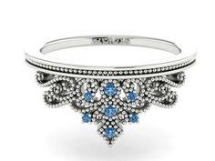 Wedding Band, Engagement Rings, Bridal Diamond Bands, Natural Blue Diamonds, Perfect Band, Tiara Style Wedding Ring, Princess Ring by BridalRings on Etsy https://www.etsy.com/listing/245189478/wedding-band-engagement-rings-bridal