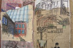Recording sketches, notes and photographs for the 'Cities' project. At this stage just getting the ideas flowing. Note the different media and experiments on different types of paper.