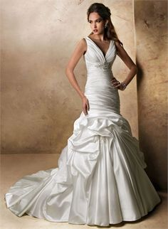 Off-the-shoulder V-neck Beaded and Ruffled Wedding Dress WD1950 www.tidedresses.co.uk $189.0000